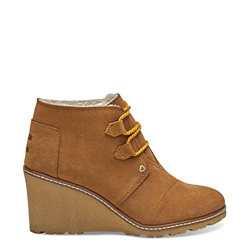 Toms Women Desert Wedge Wheat Suede with Faux Crepe Booties (6) (Toms For Women Boots)