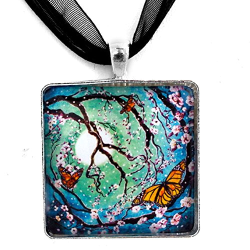Monarch Butterflies in Teal Moonlight Handmade Art Pendant (Black Ribbon Necklace) -