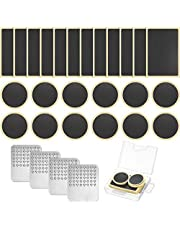 Pre-glued Patch Puncture Repair Kit Bike Tire Patch Repair Kit, Bicycle Tube Puncture Rubber Patches Glueless Patches with Metal Rasp and Portable Case for Bike Inner Tube