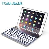 2017 New iPad 9.7 inch & iPad Air Keyboard Case -LED 7 Colors Backlit Wireless Bluetooth keyboard Folio Case Cover, Ultra Slim, Aluminium Alloy & 130°-2017 New iPad &iPad Air Back Hard case --(Silver)