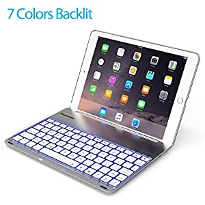 Keyboard Case for 2017 iPad 9.7 inch 5th Gen& iPad Air &2018 New iPad(6th Gen)-Backlit Bluetooth keyboard, Back Hard Folio Cover, Aluminium Alloy-For model:A1822/A1823/A1474/A1475/A1476/A1893