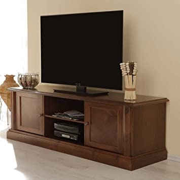 Lowboard nussbaum antik  TV-Lowboard Alberto aus Nussbaum Antik Teilmassiv Pharao24: Amazon ...