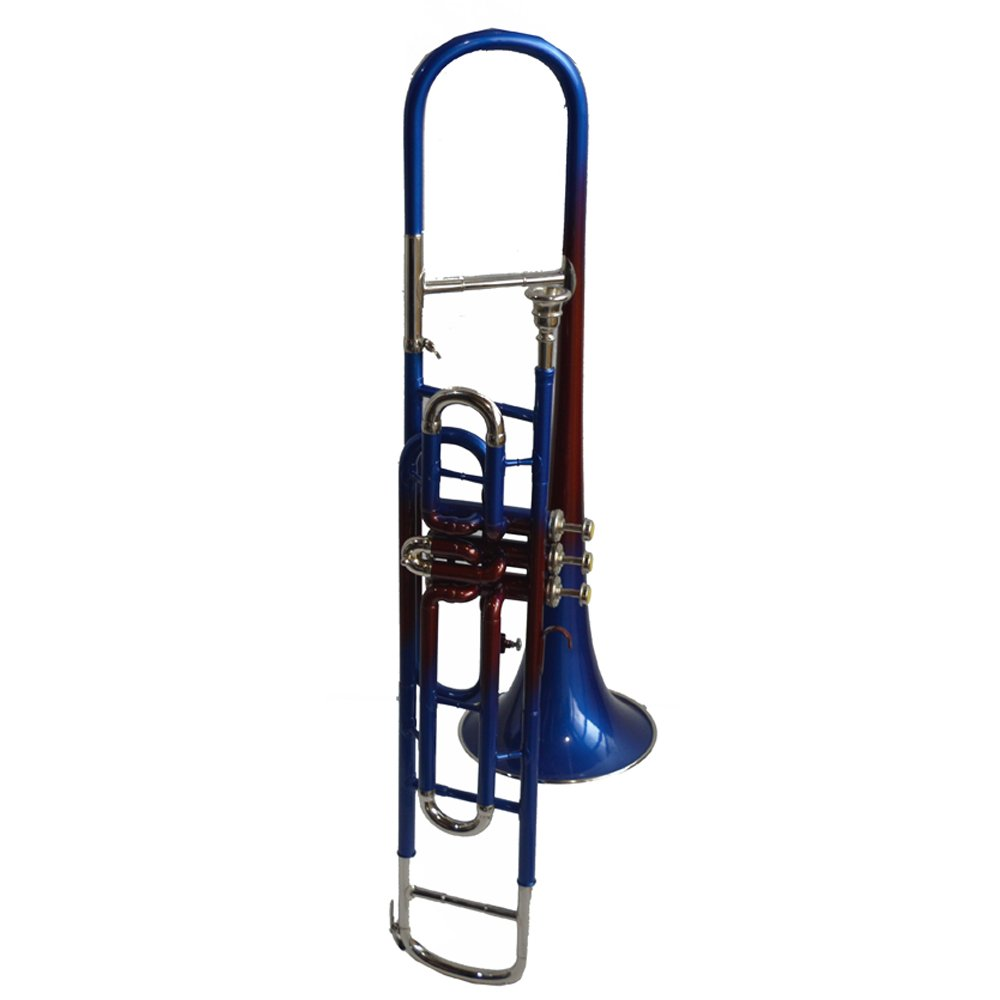 NASIR ALI TROMBONE Bb PITCH FOR SALE BLUE BRASS MULTI LACQUER WITH HARD CASE AND MP