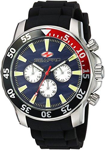 Seapro Men's 'Scuba Explorer' Quartz Stainless Steel Casual Watch, Color:Black (Model: SP8331)