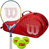 Wilson US Open Junior Tennis Racquet Kit or Set Bundled with a Kid's Tennis Bag and a Can of US Open Tennis Balls