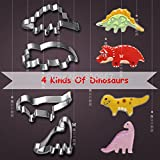 Saasiiyo 4 Pcs/Set 4 kinds of Dinosaur Shape Stainless Steel Cake Fruit ...