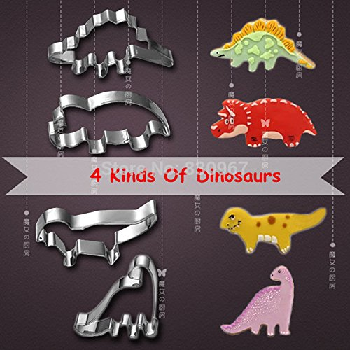 Saasiiyo 4 Pcs/Set 4 kinds of Dinosaur Shape Stainless Steel Cake Fruit Cookie Cutters Biscuit Sugar Mold DIY Cake Decoration 020141