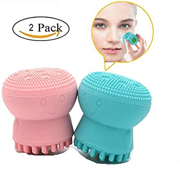 Coosa 2PC Version Silicone Facial Cleansing Brush Exfoliating Jellyfish Silicon Brush and Face Massage Silicone Brush Face Skin Care Jellyfish Gentle and Deep Clean Pores (Pink+Blue) Coosa hair