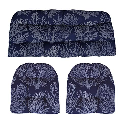 - RSH Décor Indoor/Outdoor Decorative Pillow and Cushion Sets ~ Ocean, Lake, Summer Sunshine, Tropical Beaches & Coastal Living! (3 - Wicker Cushion Set, Navy & White Dotted Coral Fabric)