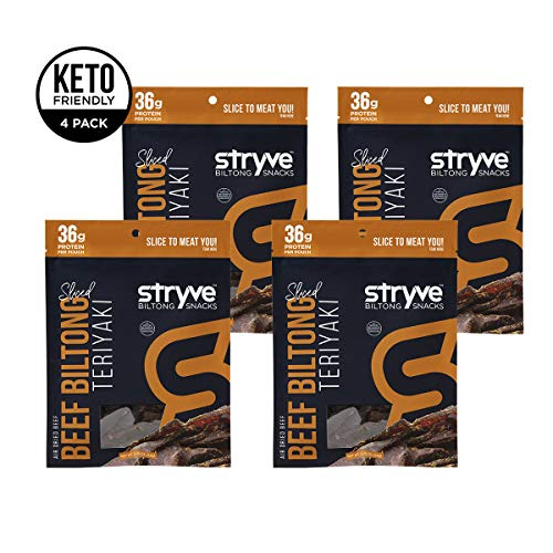 Stryve Protein Snacks   Air Dried 100% Beef   Lighter than Jerky Keto Meat Snack   No Carb, No Sugar   16g Protein   Teriyaki, 4 Pack of 2.25oz