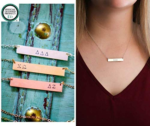 Sorority Gift Necklace - ROI - Big Sister Reveal BSR - 1.5 x.25 Inch Bar - 20 Gauge Sterling Silver Rose Gold Filled - Chi Omega Delta Zeta - Custom Greek Letters - Fast 1 Day Production