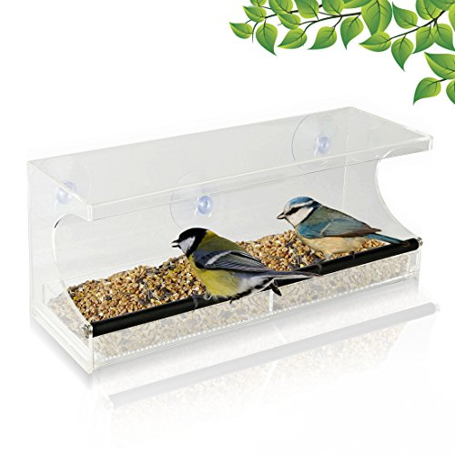 Amazon Lightning Deal 80% claimed: Window Bird Feeder - See-Through Acrylic - Clear, Removable Slide Out Tray - Drainage Holes Keep Bird Seed Fresh - 3 Suction Cups For Easy Mounting - Perfect for Adults, Kids, Pets, Home Bird Watching