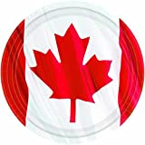 """Amscan Waving Canadian Flag Dinner Plates Patriotic Party Disposable Tableware, Paper, Round, 10"""", Pack of 18 Party Supplies"""