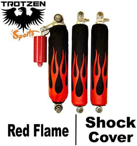 Trotzen Sports Shock Cover Compatible With Suzuki quad racer lt250r Black Flame Yellow Shock Cover #pht12368 TTS4378