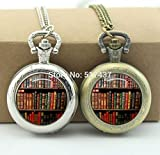 Pretty Lee Bookshelf Pocket Watch Necklace Floating Memory Locket Necklace Vintage Pocket Watch Necklace Silver