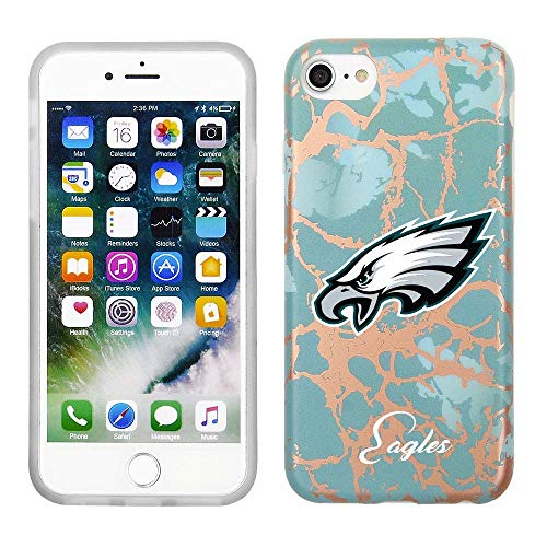 Marble Eagle - Prime Brands Group Cell Phone Case for Apple iPhone 8/7/6S NFL Licensed Philadelphia Eagles, Teal and Rose Gold Marble