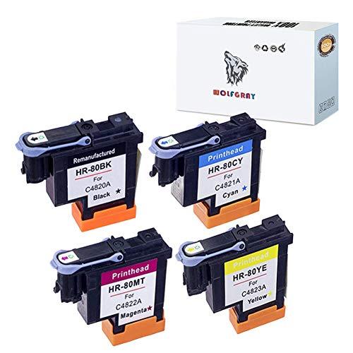 Wolfgray 4 Pack Compatible 80 Printhead HP 80 Printheads with Latest Chips C4820A C4821A C4822A C4823A Compatible for HP DesignJet 1050c 1050c Plus 1055C 1055cm 1055cm Plus(1BK+1C+1M+1Y)