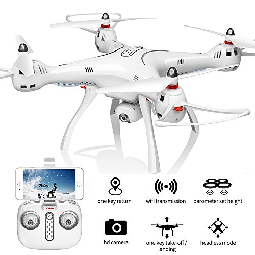 XFUNY Syma X8Pro FPV RC Quadcopter with 720P Camera Live Video 2.4GHz 6-Axis Gyro Drone with WiFi HD Camera, GPS Return Home, Altitude Hold, Headless Mode, 2 Battery (White) by XFUNY