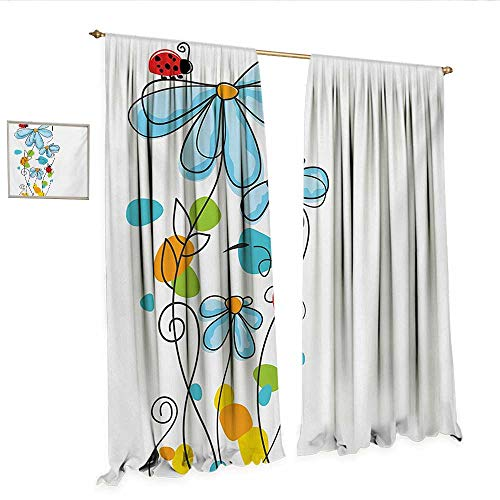 - Ladybugs Patterned Drape for Glass Door Flowers and Oval Dome-Shaped Ladybugs Illustration Never Ending Love Story Luck Symbol Window Curtain Fabric W108 x L96 Multi.jpg