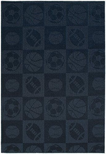 Garland Rug Sports Balls Area Rug, 5' x 7', Navy - Football Sports Rug