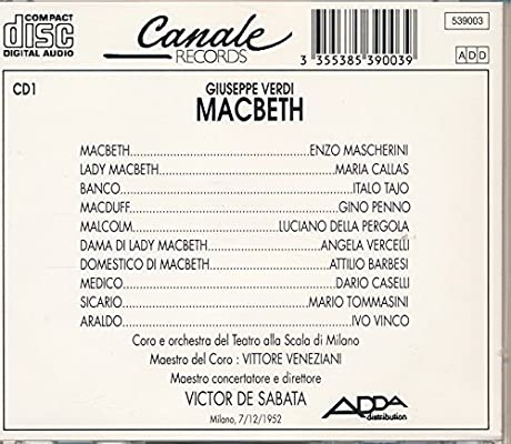 Verdi: Macbeth: Callas, Giuseppe Verdi: Amazon.es: Música