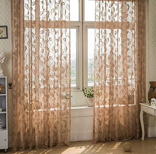 (BW0057 Countryside Style Luxurious Leaves Jacquard Sheer Curtain Rod Pockets Top Window Treatment Drape Voile Panel for Bedroom Kids Room Living Room-0021 Panel, W 50 x L 63 inch, White)