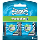 Wilkinson Sword Protector 3 Refill Cartridges Razor Blades, 8 Count (Comparable to Schick Protector)