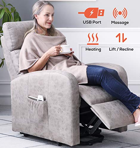 ERGOREAL Electric Lift Chair for Small Elderly People Textured Suede Lift Recliner with Heat and Massage Infinite Position Power Lift Recliners with USB Port and Side Pocket (Grey)