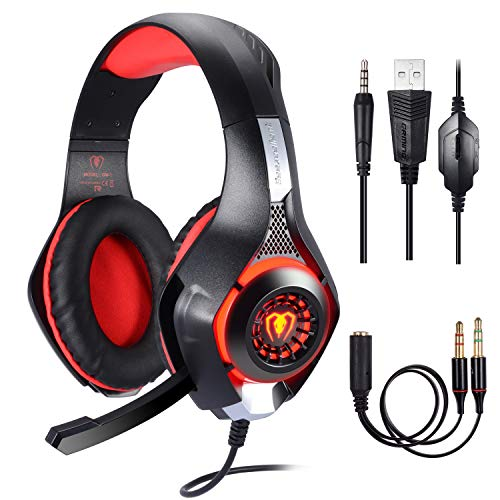 BlueFire Stereo Gaming Headset for Playstation 4 PS4, Over-Ear Headphones with Mic and LED Lights for Xbox One, PC, Laptop (Red)