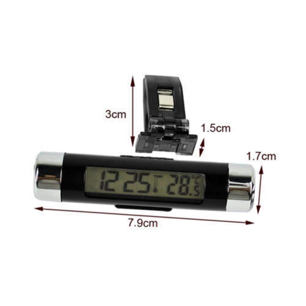 okdeals 2/en 1//à Clipser LCD Pratique de Voiture Thermom/ètre Digital Automobile Horloge r/étro/éclairage