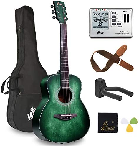 Left Handed 36 Inches 3/4 Acoustic Guitar Travel BundleBag Metronome Tuner Wall-mounted Hanger Strap Picks & Cleaning Cloth Dark Hunter Green