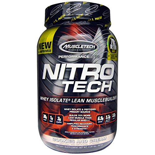 Muscletech Nitro Tech Whey Isolate Lean Muscle Builder Cookies and Cream 2 00 lbs 907 g