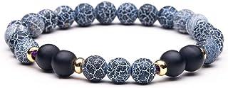 SHOUZ Fashion Zircon Pietre Naturali e minerali e Bracciale da Uomo Crystal Lava Island Pietra Tiger Eye Bangle Gioielli