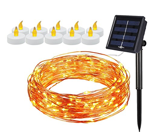 (COMBO 11-PACK) Dancing String Lights, Solar Powered 100 LEDs 33ft String Light WITH 10 Pieces FlamelessLED Candles Starry String Lights Copper Wire Lights Ambiance Lighting Gardens Christmas (Outside Decorating Ideas)