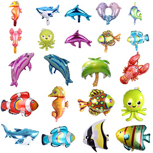 (SOTOGO 22 Pieces Large&Small Sea Animal Balloons Set Sea Creatures Tropical Fish Balloons for Kid Birthday Party)