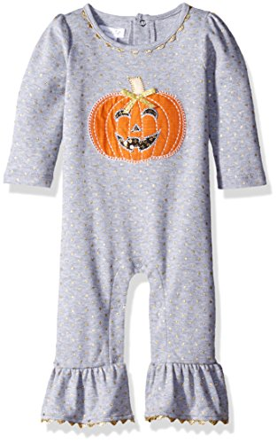 Mud Pie Baby Girl Holiday One Piece Playwear Set Long Sleeve,  Pumpkin,  0-6 Months ()