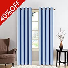 MEROUS Solid Blackout Curtain Thermal Insulated Window Treatments/Drapes with Grommet for Bedroom and Living Room(2 Panels,52*95 inch,Blue)