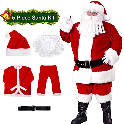 Santa Claus Costume Santa Suit Plush Adult Santa Costume for Men (Red -