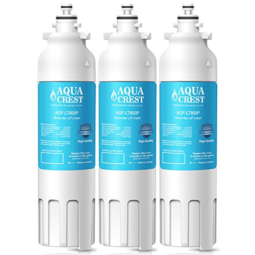 AquaCrest LT800P Refrigerator Water Filter Replacement for LG LT800P, ADQ73613401, ADQ73613402, Kenmore 9490, 46-9490 Water Filter (Pack of 3) by AQUACREST