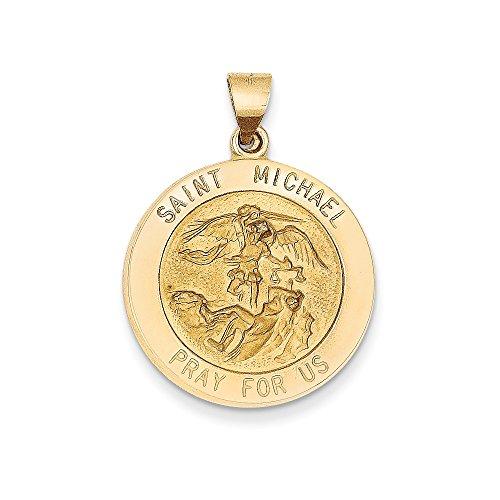 - 14k Gold Saint Michael Medal Pendant (1.26 in x 0.87 in)