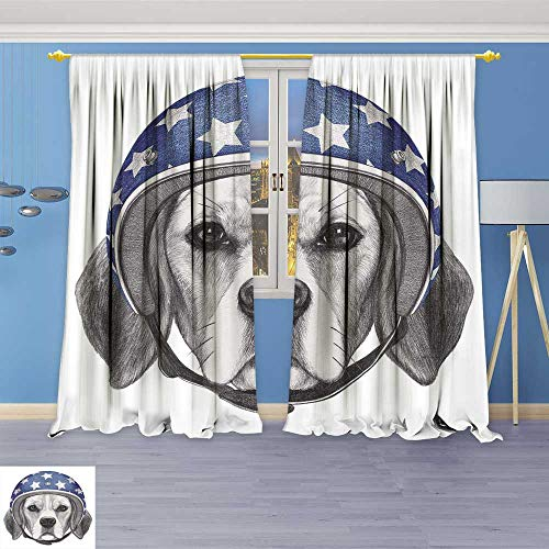 Leigh-home Room Darkening Wide Curtains Portrait of Beagle with Helmet Hand Drawn Decor Curtains by 72W x 84L Inch -  CGCL-lcz-0913-04273K183xG214