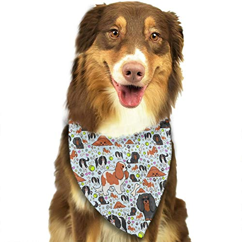 FBHA Cavalier?King?Charles?Spaniel Pattern Pet Bandana Washable Reversible Triangle Bibs Scarf - Kerchief for Small/Medium/Large Dogs & Cats