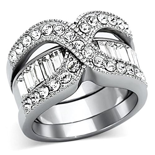 Stunning Round Cut CZ Stainless Steel 2 Piece Wedding Ring Set Women's Size 5-10 (9) (Two Piece Wedding Band)