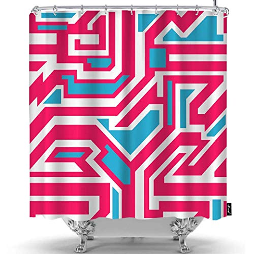 oFloral Geometric Shower Curtain Funky Psychedelic Graffiti Art Grunge Urban Wallpaper Decorative Fabric Shower Curtains Liner with Hooks Home Decor for Bathroom Shower Bathtub 36X72 Inch