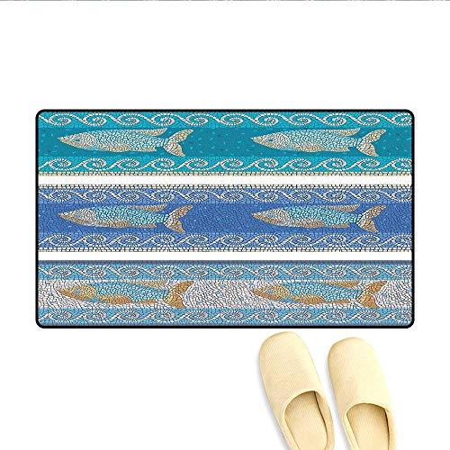 Bath Mat Ancient Style Byzantine Ceramics Inspired Maritime Fractal Fish Pattern Artwork Door Mats for Inside Bathroom Mat Non Slip Backing Slate Blue 32