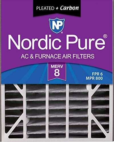Nordic Pure 20x25x5 (4-7/8 Actual Depth) MERV 8 Plus Carbon Trion Air Bear Replacement AC Furnace Air Filter, Box of 2