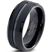 Tungsten Wedding Band Ring 8mm for Men Women Comfort Fit Black Beveled Edge Brushed FREE Custom Laser Engraving Lifetime Guarantee