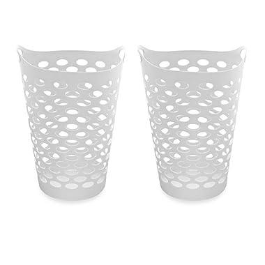 Starplast Tall Flex Laundry Basket in White Set of 2