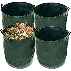 U.S. Garden Supply Durable 72 Gallon Reusable Garden Bags, 4 Pack - Yard Leaf Lawn Grass Waste Trash Container - Heavy Duty Collapsible Basket with Portable Handles