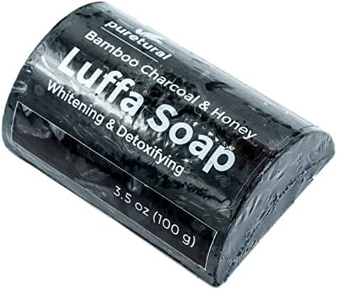 Puretural Luffa Soap Bar to clean dark spots Body Scrub Soap for Stretch marks Whitening with Bamboo Charcoal and Honey by
